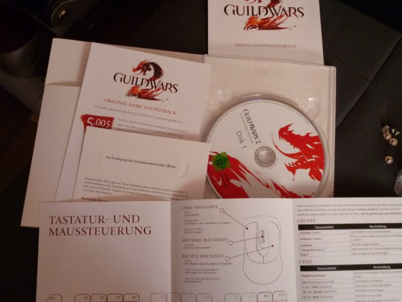 The game client, the game key, the $5 coupon for the full soundtrack, the reference sheet showing the key mapping and the installation guide.
