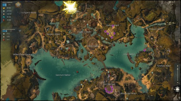 GW2 Lion's Arch rebuilt map