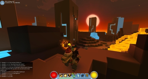 The lava fields biome with the neon city biome in the background
