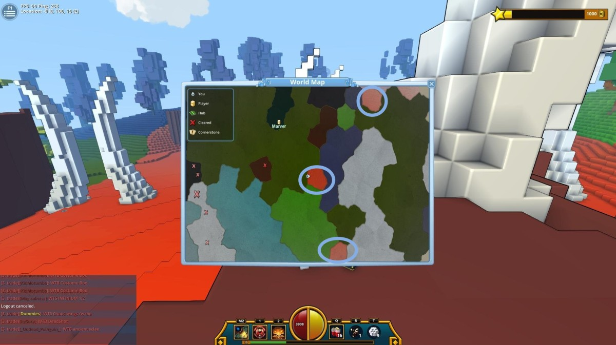 Trove: Biomes and their map colours