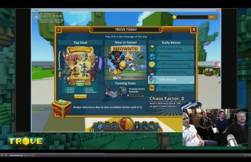 Trove Welcome Screen