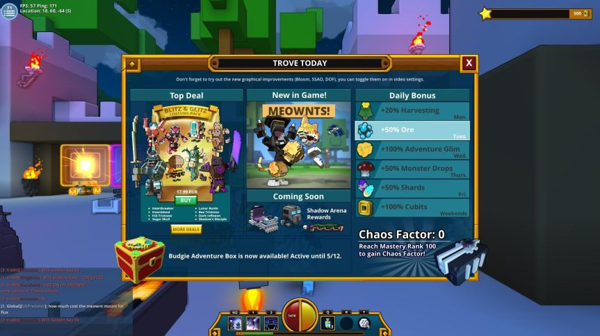 Trove Welcome Screen