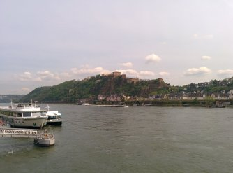 Ehrenbreitstein Fortress from the other side of the river Rhine