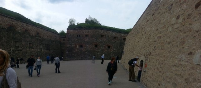 Playing with my camera's settings in the Ehrenbreitstein Fortress... half a panorama picture. :p
