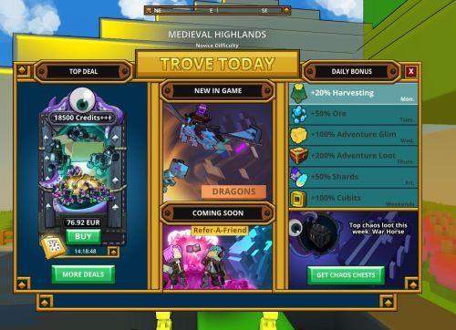 Trove_Welcome Screen