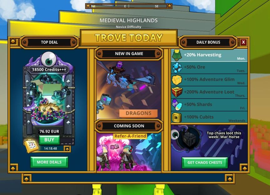 Trove_Welcome Screen