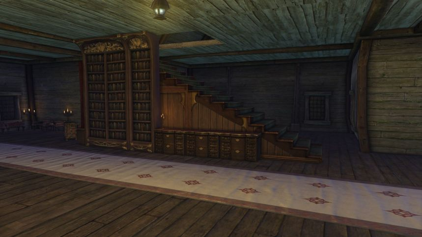 Tavern stairs and shelves