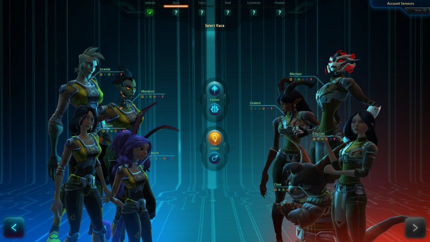 WildStar new character creation screen
