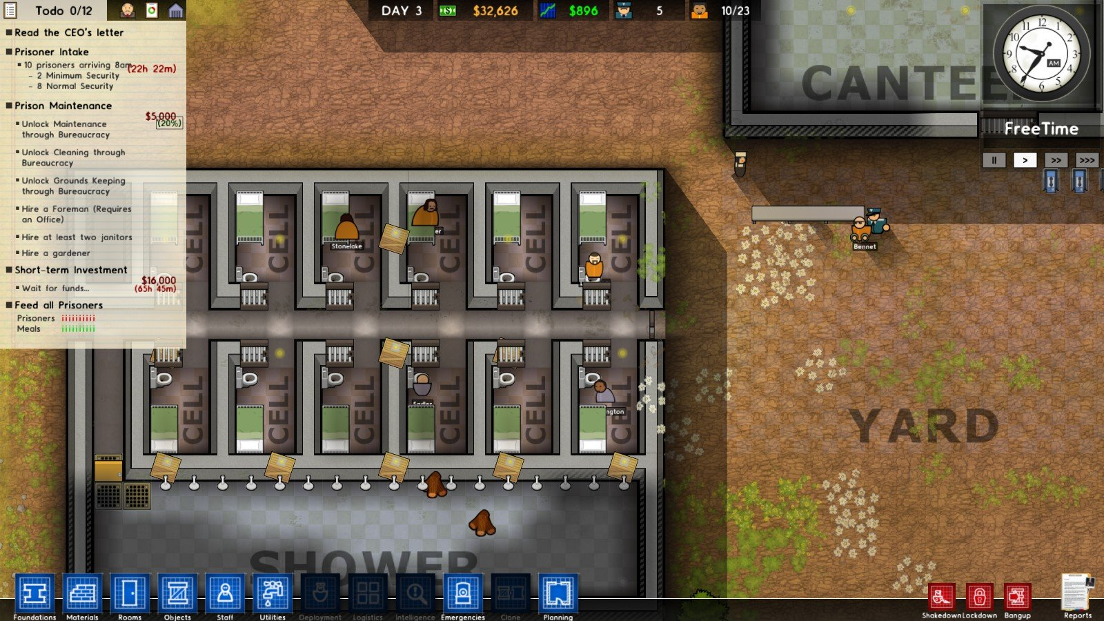 prison architect how to get staff food needs down