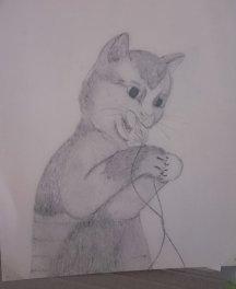 A cat. No idea why I chose to draw a cat...