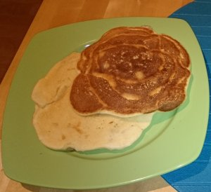 Light and dark apple pancakes
