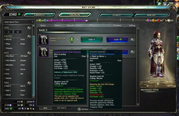 Rift Item comparison T3 raid and level 65 blue items