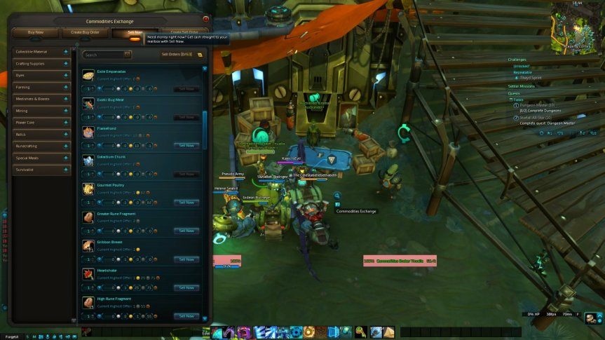 Wildstar Commodities Exchange UI window