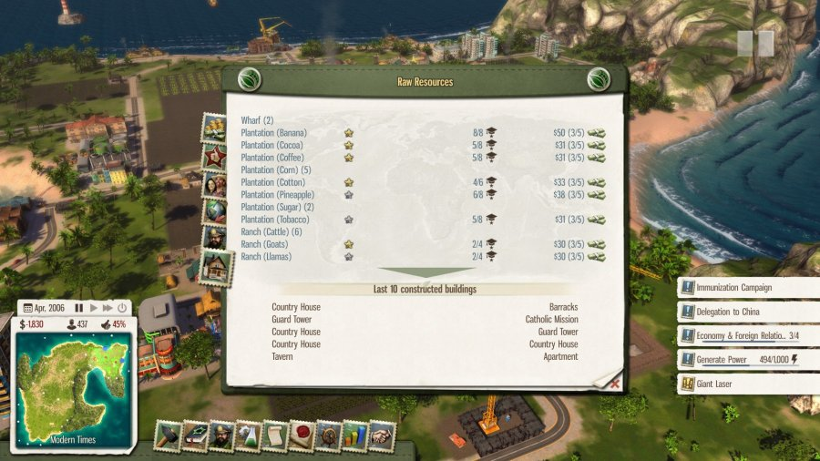 Tropico 5 buildings list