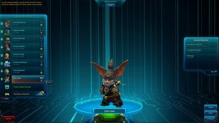 Wildstar Character login screen