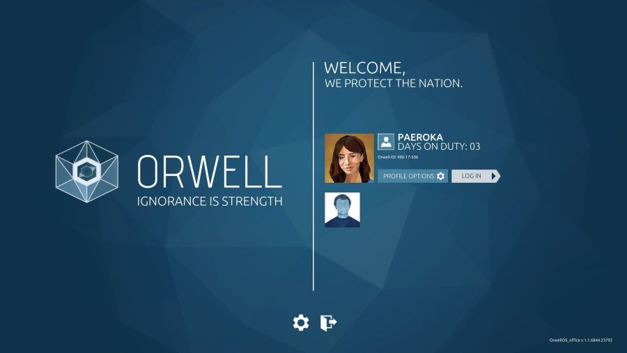 Orwell: Ignorance is Strength Login Screen