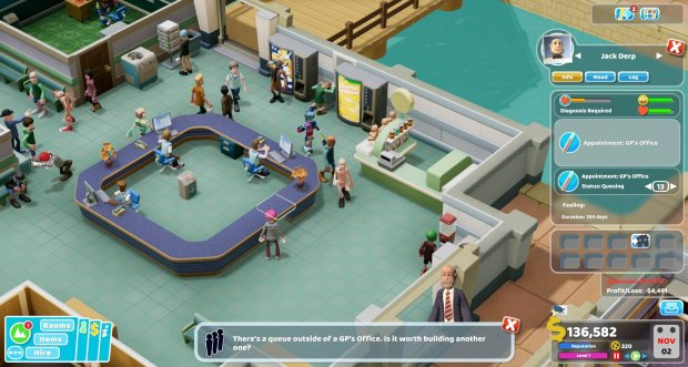 Two Point Hospital Reception