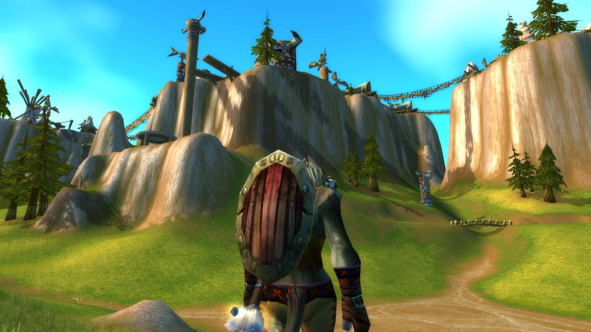 Image from the game World of Warcraft: The taurens' city Thunder Bluff
